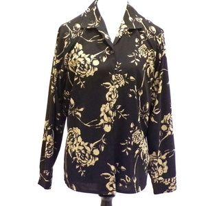 Laura Scott Button Up Black  Gold Blouse